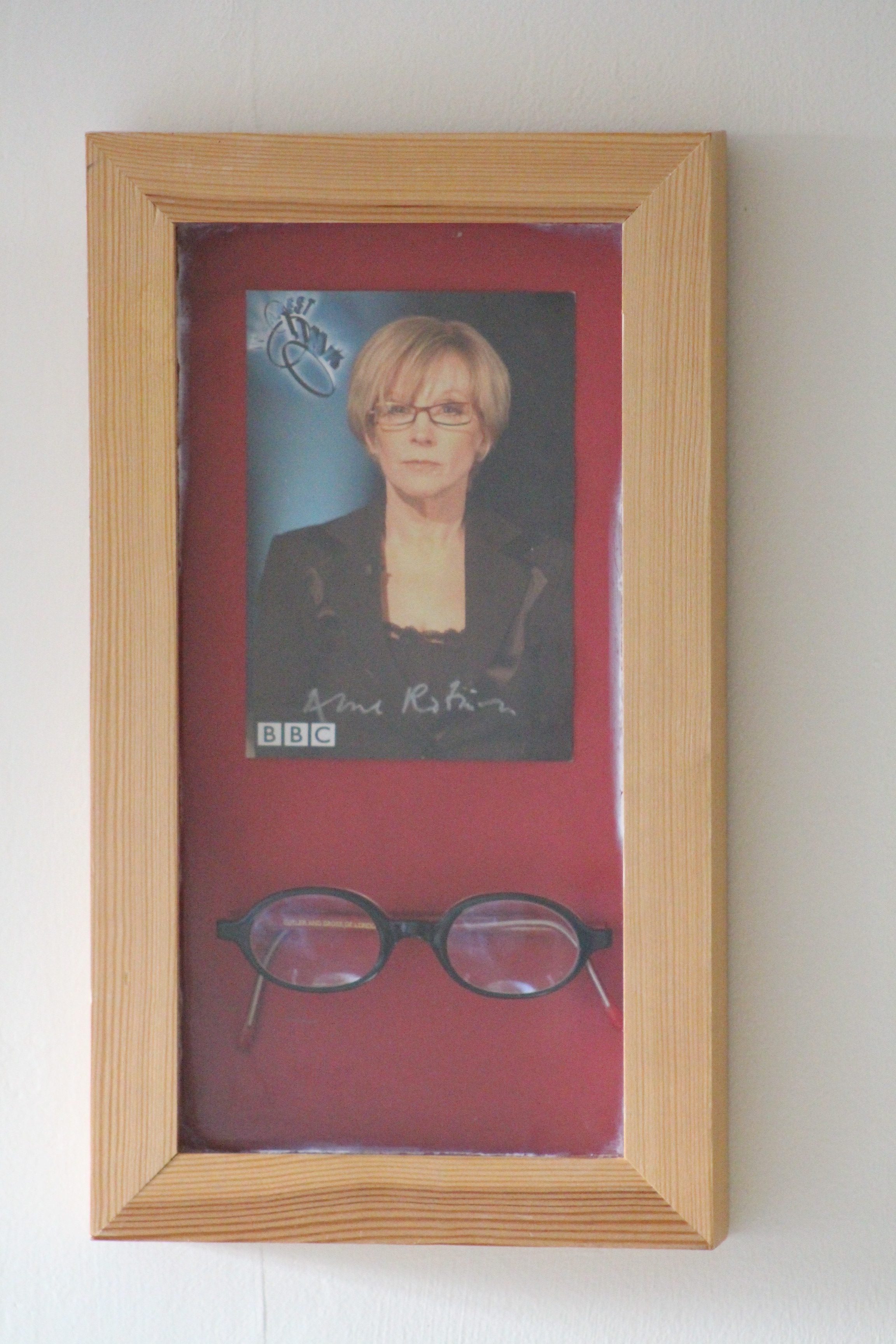 Pair of Framed Signed Anne Robinson Glasses