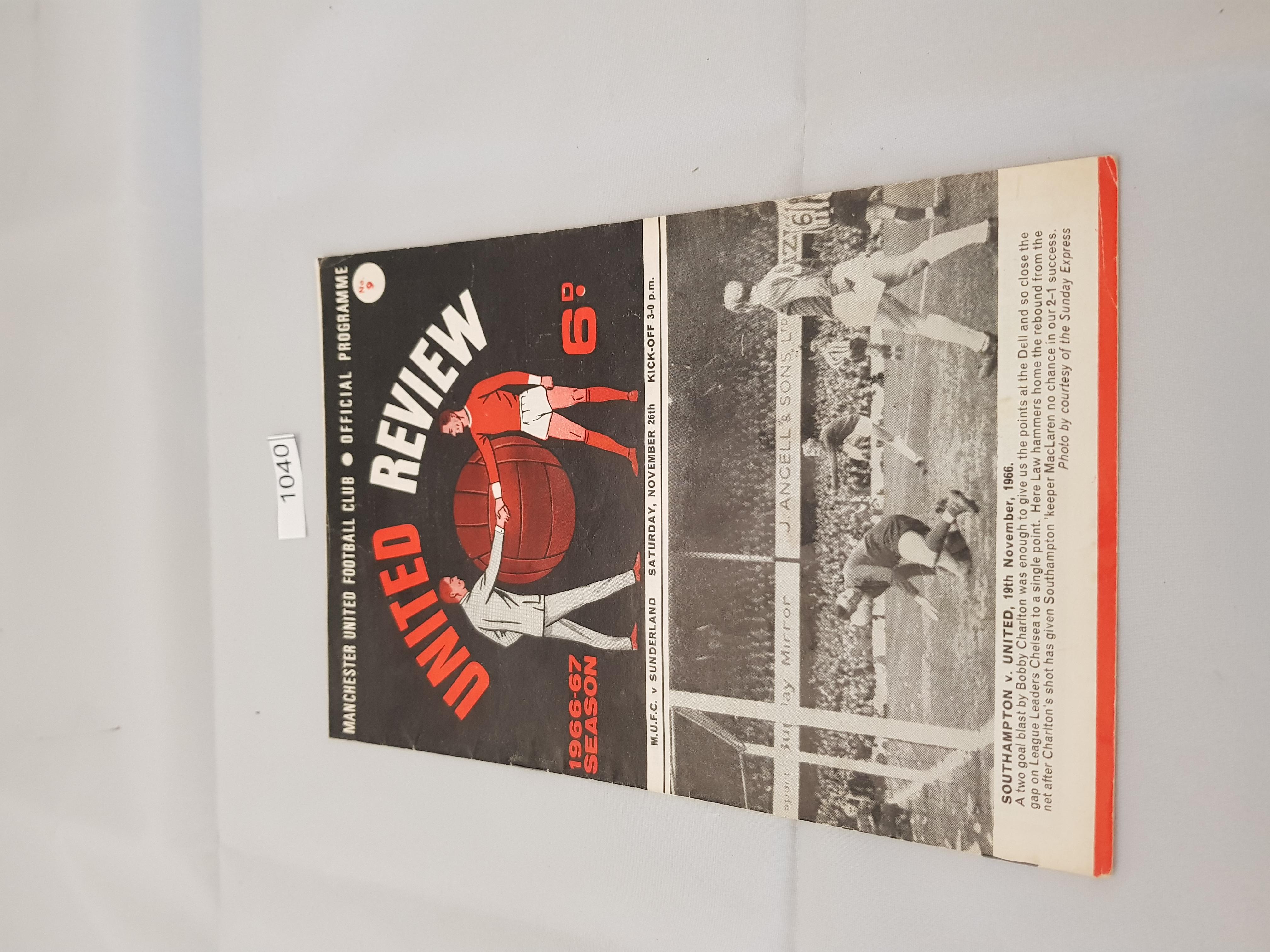 Manchester United v Sunderland 26th November 1966