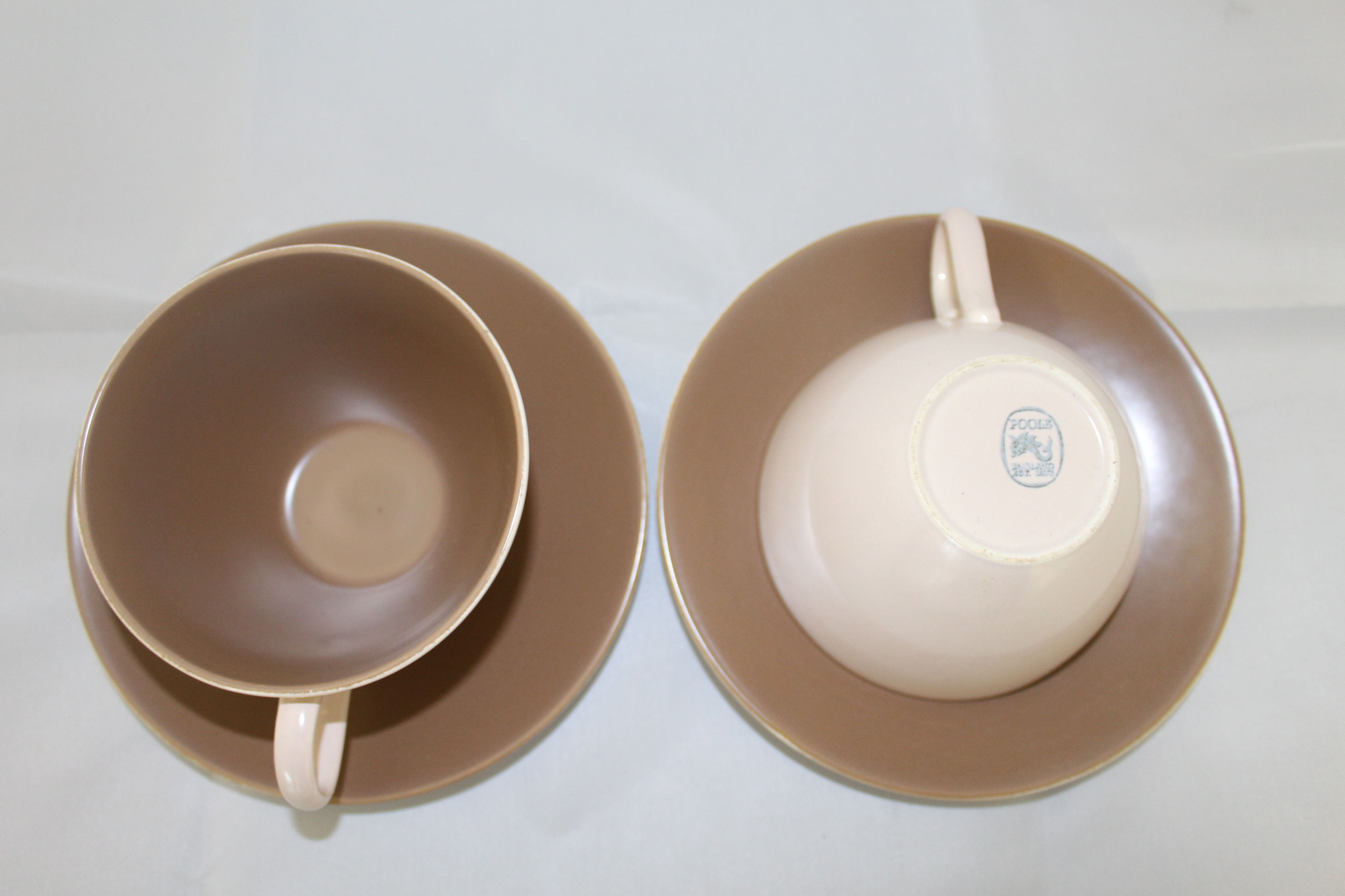 Pair of Poole Pottery Cups and Saucers