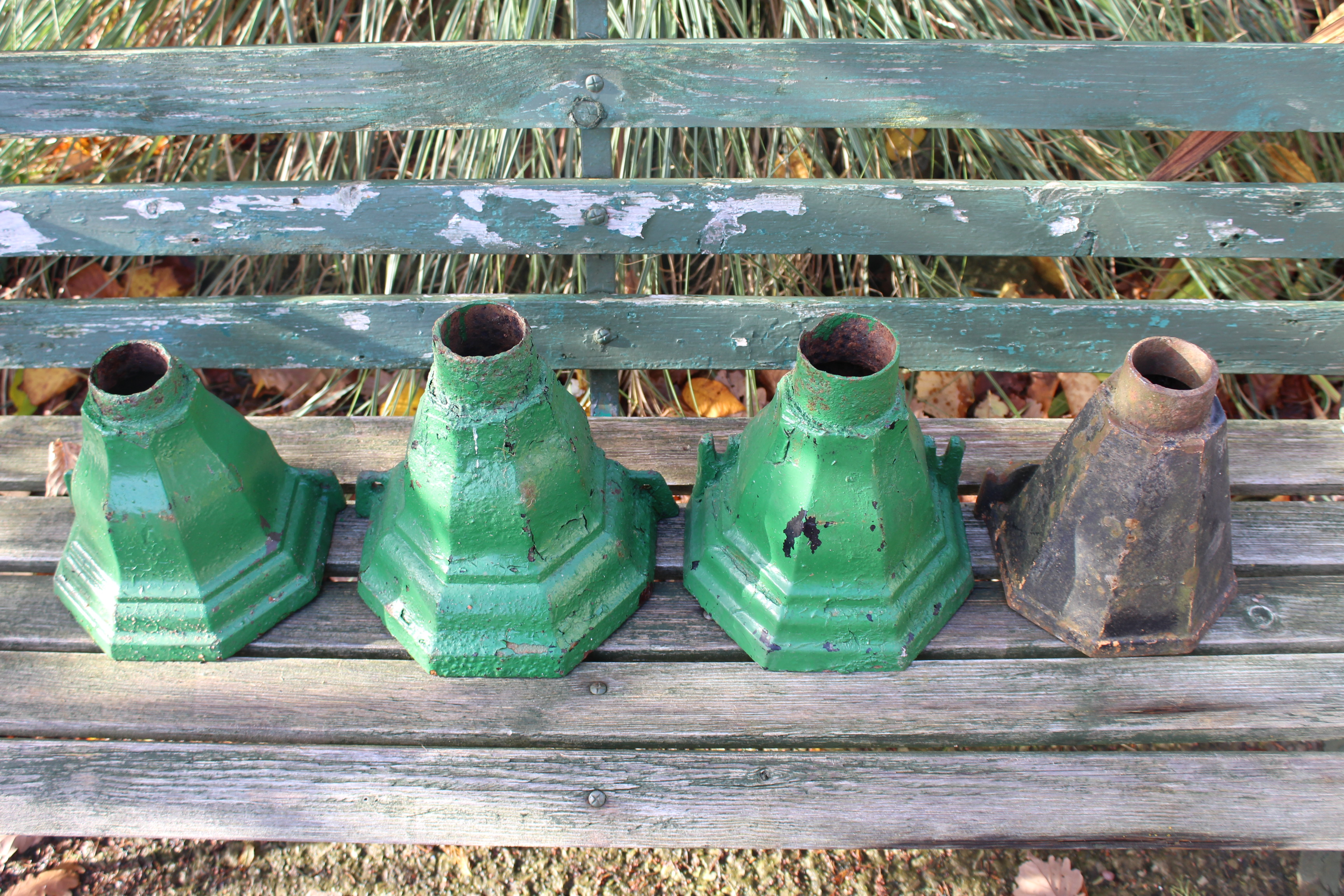 Collection of 4 Cast Iron Drain Spout Hoppers