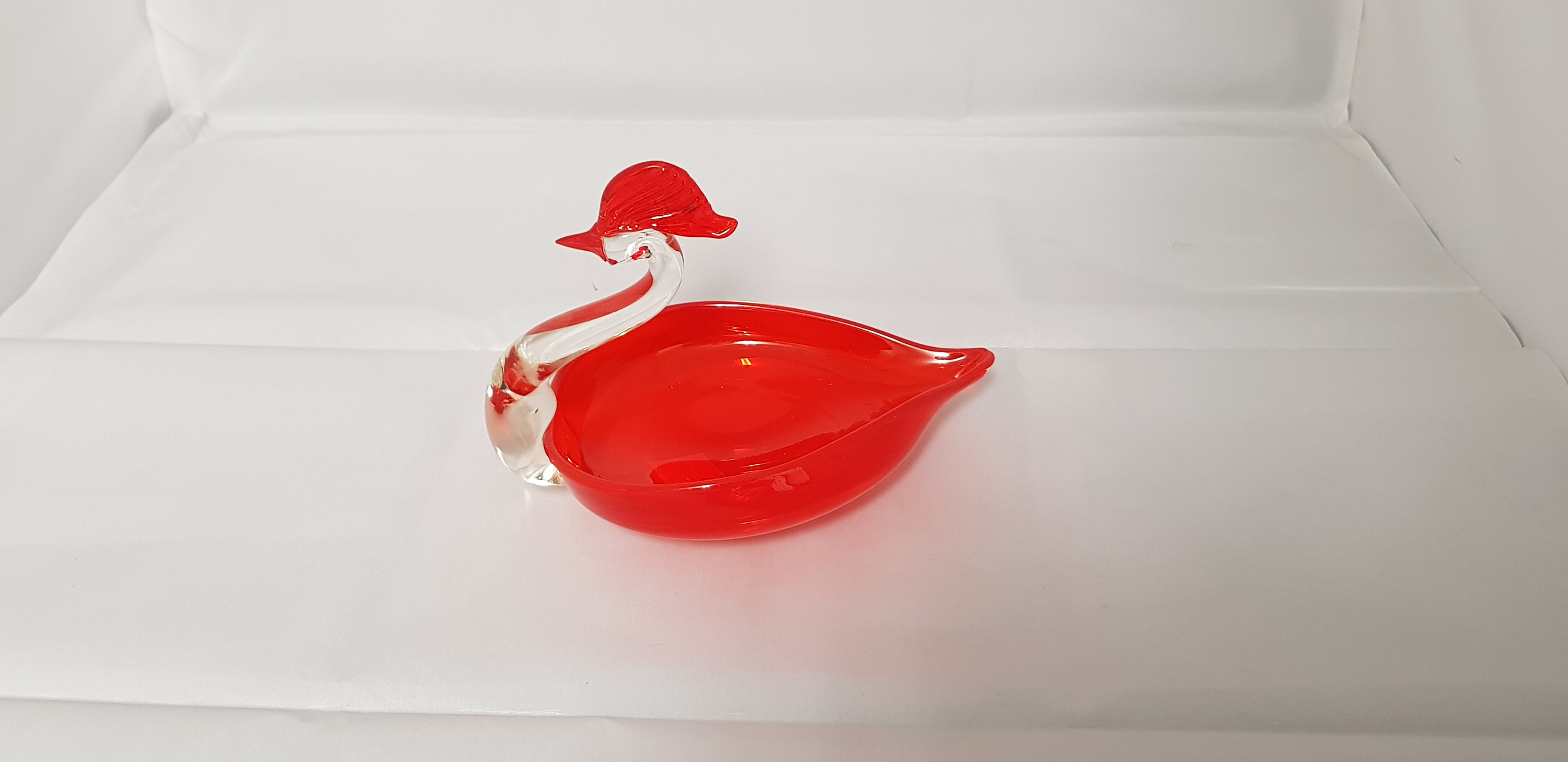 Vintage Murano glass red duck with clear neck
